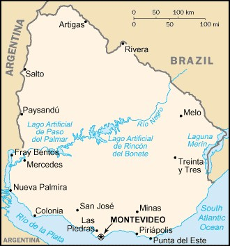Mapa do Uruguai - CR�DITO: Wikip�dia