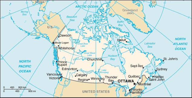 Canad� - CR�DITOS: http://pt.wikipedia.org/wiki/Ficheiro:Ca-map.png