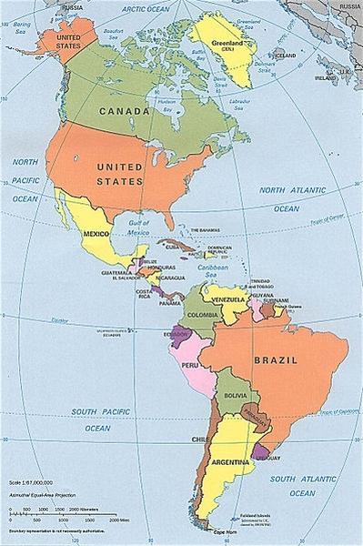 Mapa político das Américas desenvolvido pela CIA - CRÉDITOS: http://pt.wikipedia.org/wiki/Ficheiro:N%26SAmerica-pol.jpg