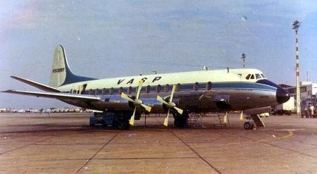 Vickers Viscount V.827 prefixo PP-SRD da VASP, aqui fotografado no Rio de Janeiro em Julho de 1973