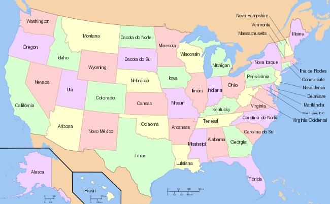 mapa dos estados unidos da américa do norte Estados Unidos da América mapa dos estados unidos da américa do norte